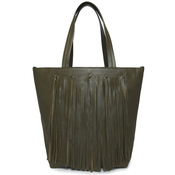 Finlay Fringe Tote - Olive Green