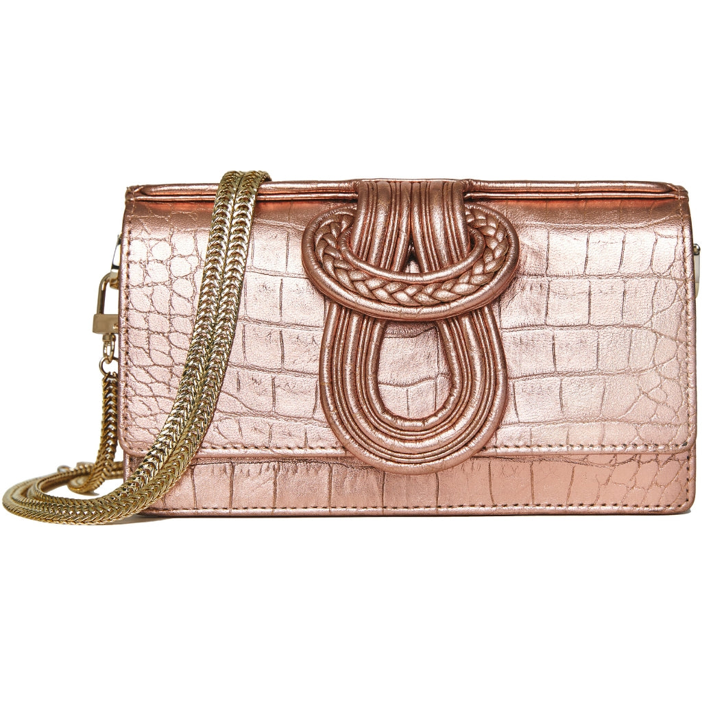 Nell Knot -  Rose Gold Croco