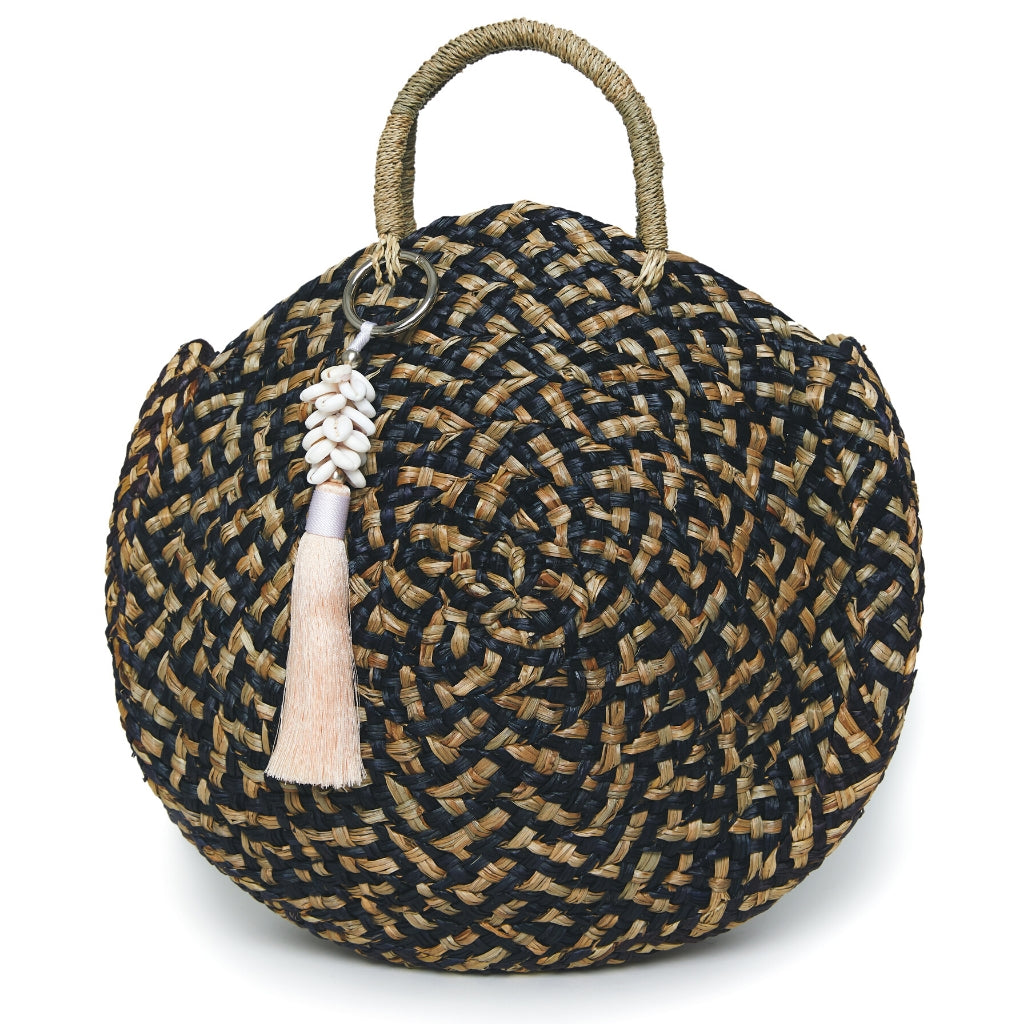 Bobbie Round Basket Bag - Natural & Black