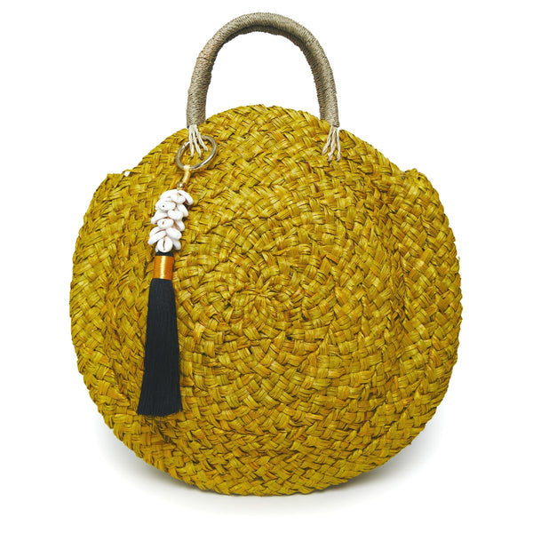 Bobbie Round Basket Bag - Yellow