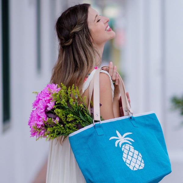 Pineapple Tote - Teal Medium