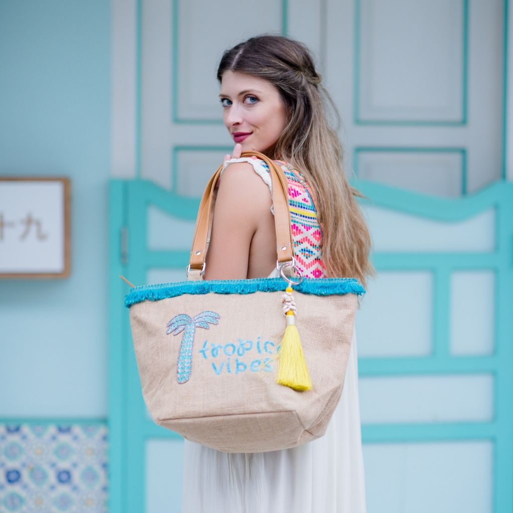Palm Tree Fringe Tote - Tropical Vibes