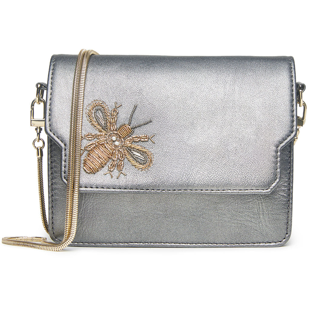 "Betsy Mini Bag - Pewter ""Bee"""