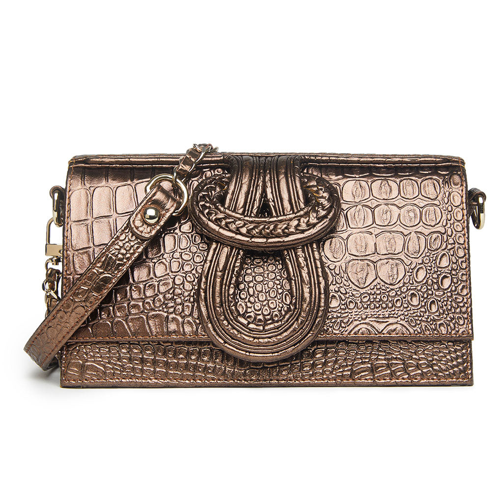 Nell Knot  - Metallic Bronze Croco