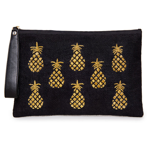 Nina Black & Gold Pineapple Pouch
