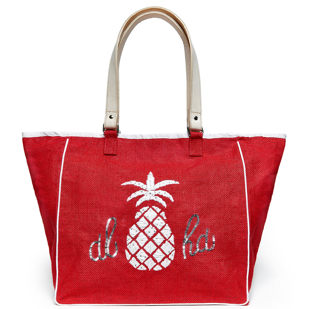 Beach Bag - Pineapple 'ALOHA' Red Large