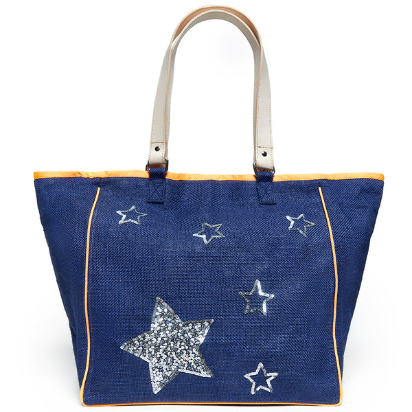 Beach Bag - Navy Silver Stars Large