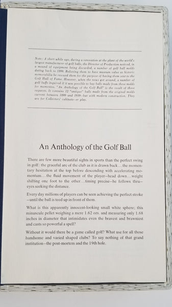 Anthology of The Golf Ball 1899-1939 Limited Edition