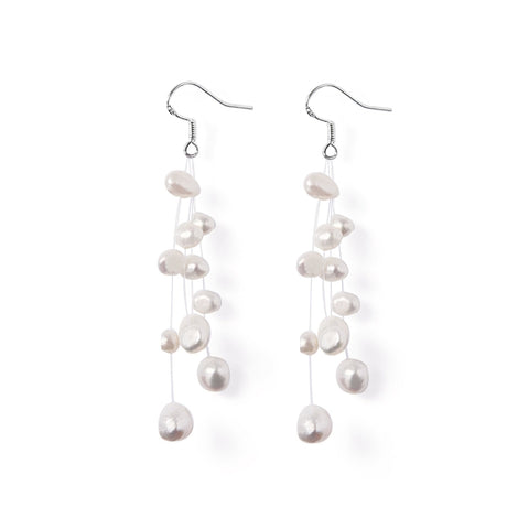 Boucles Perles de Culture d'Eau Douce - Constellation - Neige