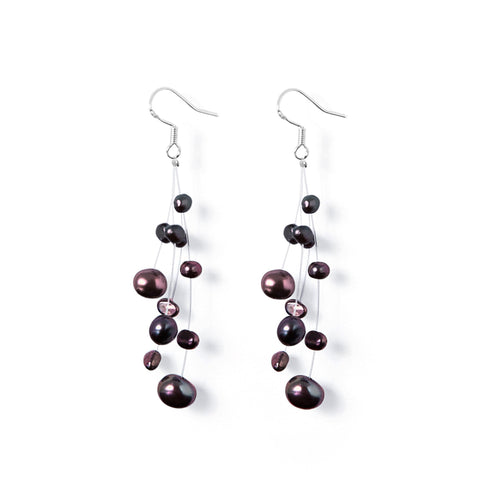 Boucles Perles de Culture d'Eau Douce - Constellation - Nuit Passion