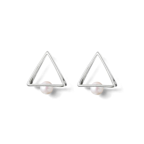 Boucles Perles de Culture d'Eau Douce - Triangle Double - Neige