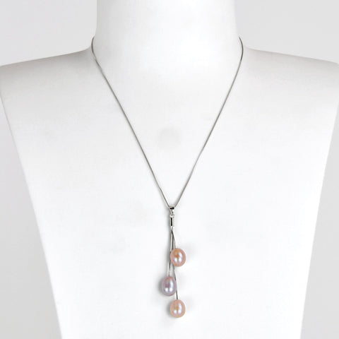 Collier Perles de Culture d'Eau Douce - Chaine Trio - Variations lilas