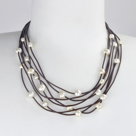 Collier Constellation de cuir café - Neige