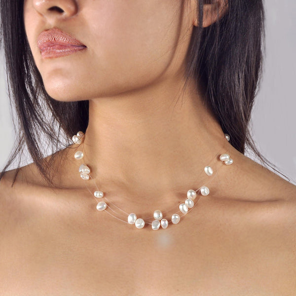Collier Perles de Culture d'Eau Douce - Constellation - Neige