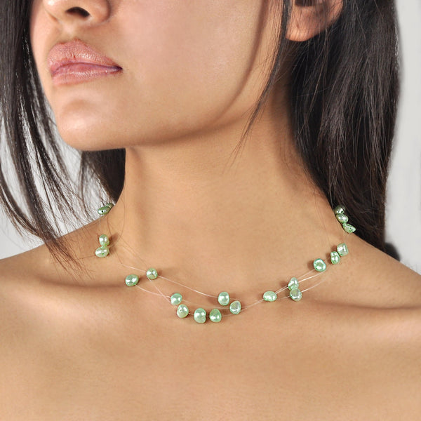 Collier Perles de Culture d'Eau Douce - Constellation - Vert anis