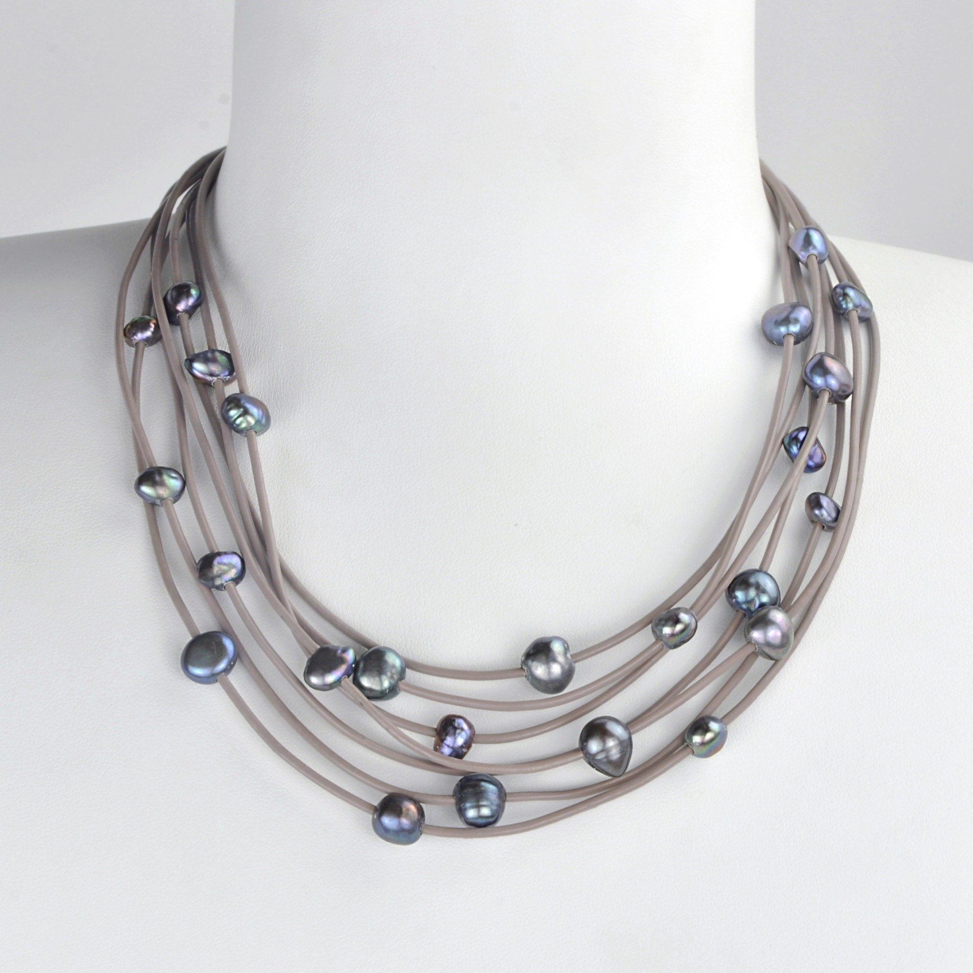 Collier Constellation de cuir taupe - Nuit