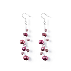 Boucles Perles de Culture d'Eau Douce - Constellation - Pourpre