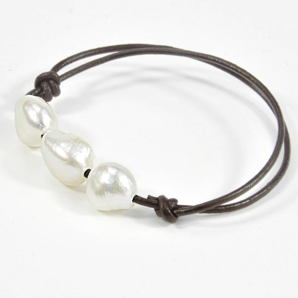 "Necklace and bracelet ""Boheme"" Coffee leather - Snow"
