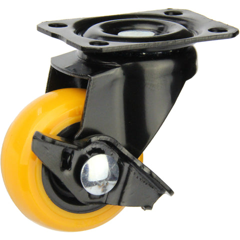 BPUA32SWB <span>16 Kg Swivel Plate Wheel Brake 32mm Orange Polyurethane</span>