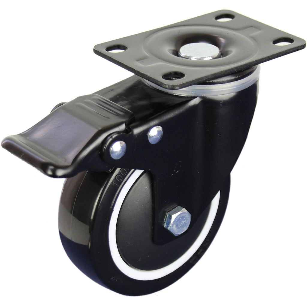 BPUQ100STB 130 Kg Black Series Castor <span>Swivel Plate Total Brake P/U on Nylon 100mm x 30mm</span>