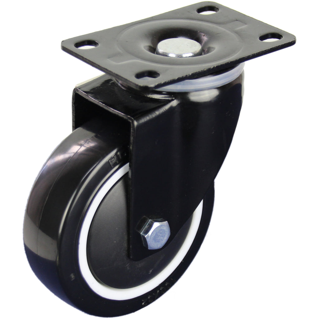 BPUQ100S 130 Kg Black Series Castor <span>Swivel Plate P/U on Nylon 100mm x 30mm</span>
