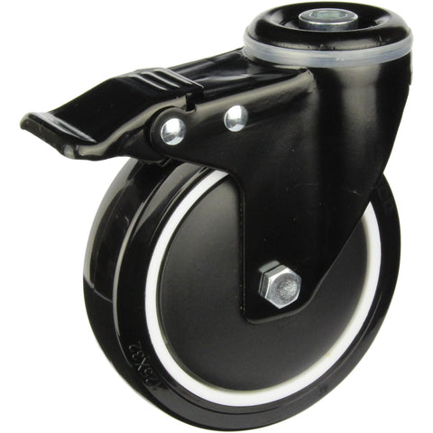 BPUQ125BHTB 155 Kg Black Series Castor <span>Swivel Bolt Hole Total Brake P/U on Nylon 125mm x 32mm</span>