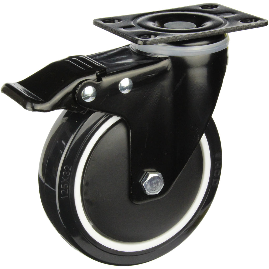 BPUQ125STB 155 Kg Black Series Castor <span>Swivel Plate Total Brake P/U on Nylon 125mm x 32mm</span>