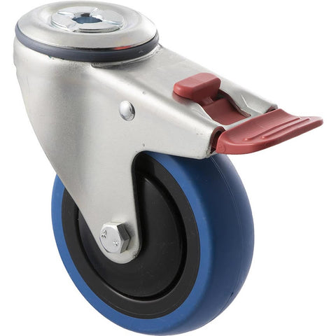 CBQ100G/MZHTB 100 Kg Zinc Castor <span>Bolt-Hole Total Brake Blue Rubber 100mm x 30mm</span>