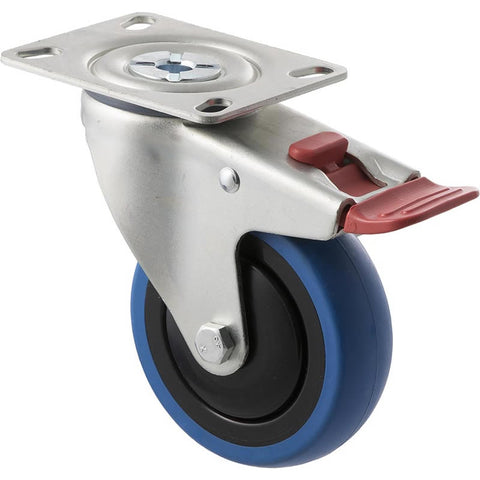 CBQ100G/MZPTB <span>100 Kg Swivel Plate Total Brake 100mm Blue Rubber</span>