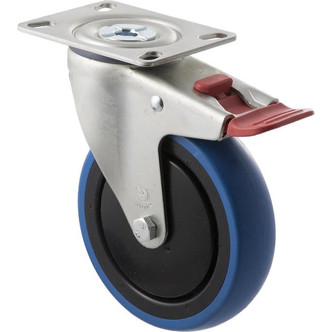 CBQ125G/MZPTB <span>100 Kg Swivel Plate Total Brake 125mm Blue Rubber</span>