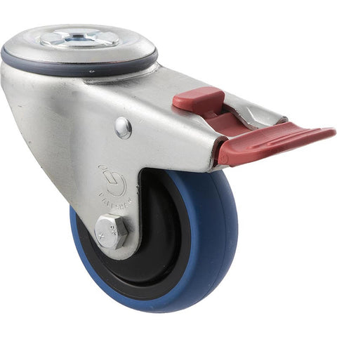 CBQ75G/MZHTB 85kg Zinc Castor <span>Bolt-Hole Total Brake Blue Rubber 75mm x 30mm</span>