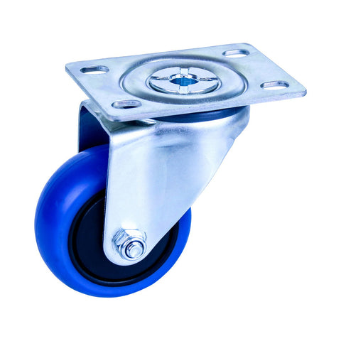 CBQ75G/MZPN 85 Kg Zinc Castor <span>Swivel Blue Rubber 75mm x 30mm</span>