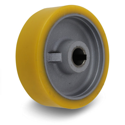 GTHN150/25H7 150mm x 50mm <span>Polyurethane on Cast Iron Drive Wheel w/ H7 Keyway</span>