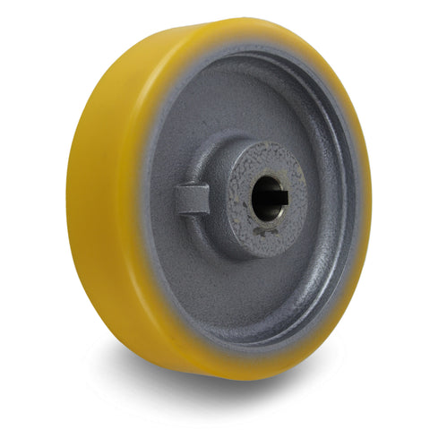 GTHN200/25H7 200mm x 50mm <span>Polyurethane on Cast Iron Drive Wheel w/ H7 Keyway</span>