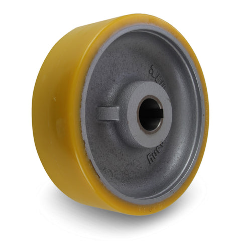 GTHN252/40H7 250mm x 80mm <span>Polyurethane on Cast Iron Drive Wheel w/ H7 Keyway</span>