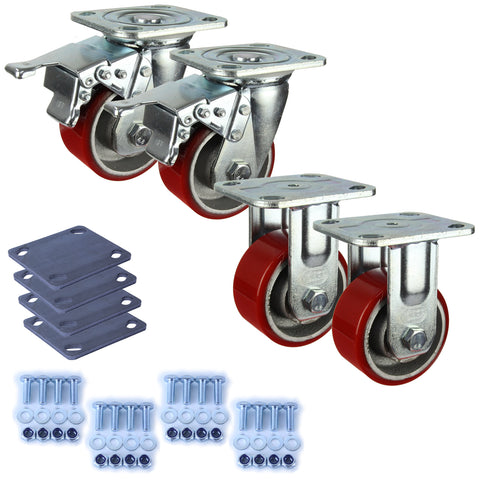 Heavy Industrial 100mm 280 Kg Pack <span>2x Fixed & 2x Swivel Total Brake Polyurethane</span>