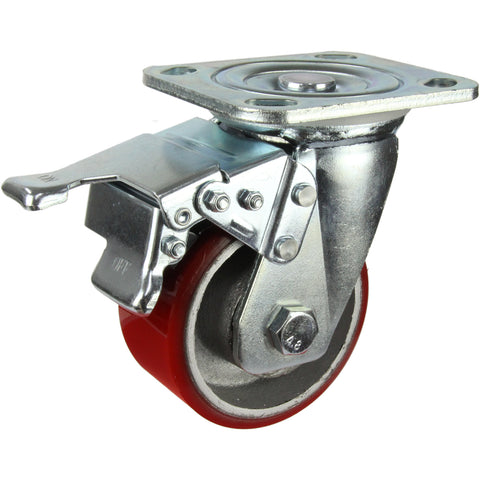 HIN4SB-CIPU <span>280 Kg Swivel Plate Total Brake 100mm Polyurethane</span>