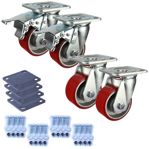 Heavy Industrial 100mm 280 Kg Pack <span>2x Swivel & 2x Swivel Total Brake Polyurethane</span>
