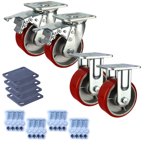 Heavy Industrial 125mm 350 Kg Pack <span>2x Fixed & 2x Swivel Total Brake Polyurethane</span>