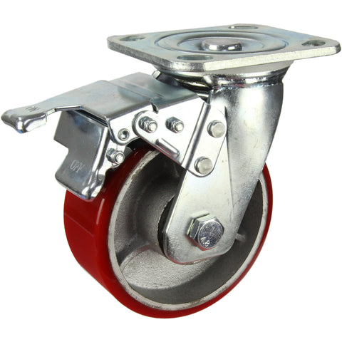 HIN5SB-CIPU <span>350 Kg Swivel Plate Total Brake 125mm Polyurethane</span>