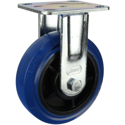 HIN6F-BRQ <span>300 Kg Fixed Plate 150mm Blue Rubber</span>