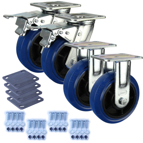 Heavy Industrial 150mm 300 Kg Pack <span>2x Fixed & 2x Swivel Total Brake Blue Rubber</span>