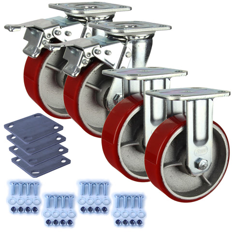 Heavy Industrial 150mm 400 Kg Pack <span>2x Fixed & 2x Swivel Total Brake Polyurethane</span>