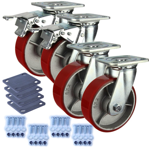 Heavy Industrial 150mm 400 Kg Pack <span>2x Swivel & 2x Swivel Total Brake Polyurethane</span>