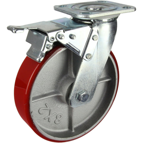 HIN8SB-CIPU <span>450 Kg Swivel Plate Total Brake 200mm Polyurethane</span>