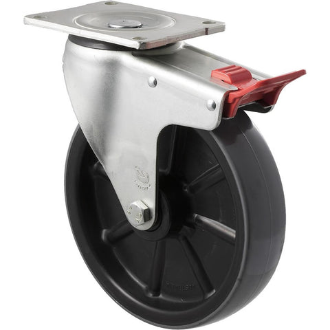 HUR200/OZPTB 500 Kg Zinc Castor <span>Swivel Total Brake P/U on Nylon 200mm x 50mm</span>