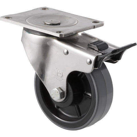 HUS125/OSPTB <span>350 Kg Stainless Steel Swivel Plate Total Brake 125mm Polyurethane</span>