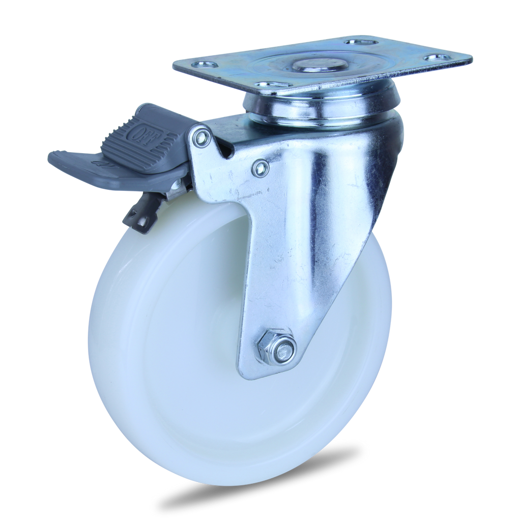 MZWNA125STB 120 Kg Zinc Castor <span>Swivel Total Brake White Nylon 125mm x 32mm</span>