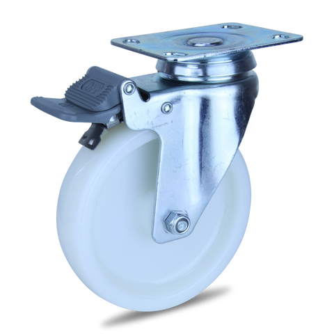 MZWNA125STB <span>120 Kg Swivel Plate Total Brake 125mm White Nylon</span>