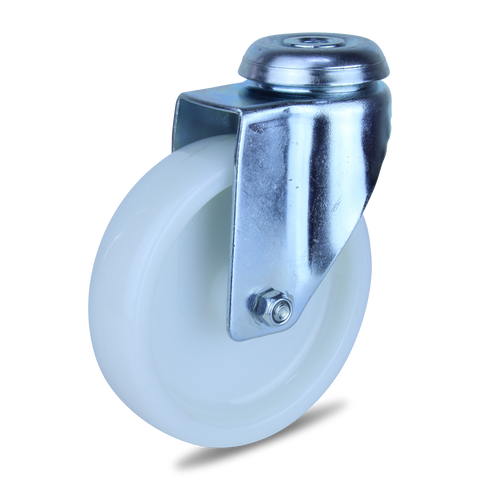 MZWNA125BH <span>120 Kg Bolt-Hole 125mm White Nylon</span>